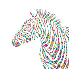 Animal pazzle shapes illustration silhouette cute zebra. EPS