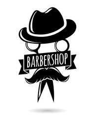 Barbershop hipster logo character