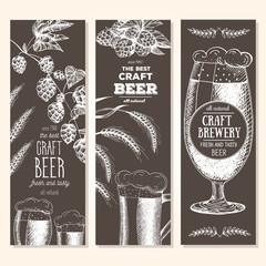Banner set. Vector illustration in sketch style. Hand drawn beer vertical banners. Line drawing