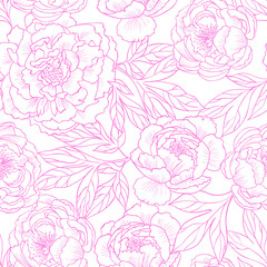 Pink peony flowers.Vector seamless pattern