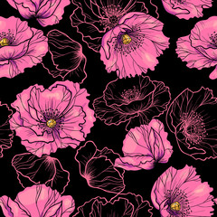 Pink poppy flowers  on a black background vector seamless pattern