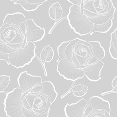 White outline roses on gray seamless pattern