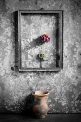 flower in a picture frame black and white,and vase on wooden background,still life