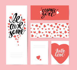 Vector flat artistic creative cards with lettering. Hand written font, text message, phrase. Love card, postcard, congratulation, invitation, party flayer.