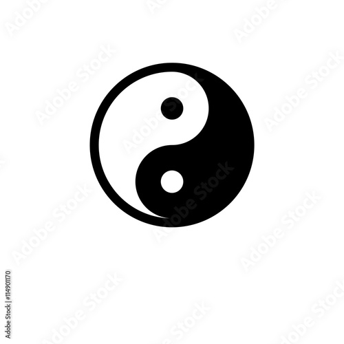 Vector Icon Yin Yang Symbol Flat Design And Space For Your Text