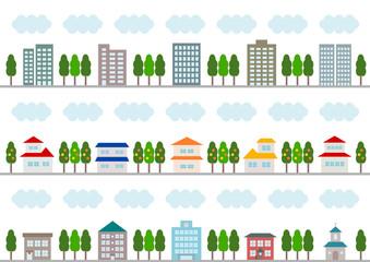 街並 イラスト 背景 カラフル 白バック