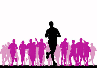People running. Sport illustration