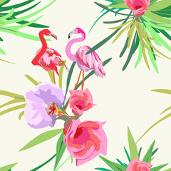 Drawing two of red and pink flamingos,  tropical floral background (the color pink green blue yellow  lilac red white black ), vector fashion print design, trendy fabric texture, seamless pattern
