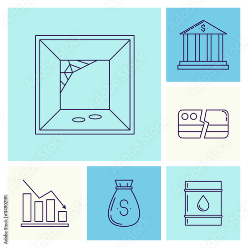 Set Of Economy Crysis Icons Stock Image And Royalty Free Vector