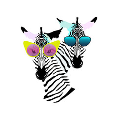 Abstract watercolor pattern Two funny striped Zebra (girl man) sunglasses (yellow, pink, blue), vector color print design, cool style for summer, logo, draw animals, black and white
