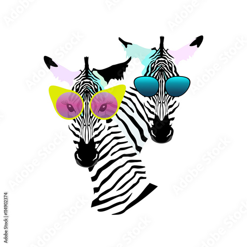 Abstract Watercolor Pattern Two Funny Striped Zebra Girl Man Sunglasses Yellow Pink
