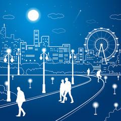 Night city, people walk in the park, ferris wheel, vector design art