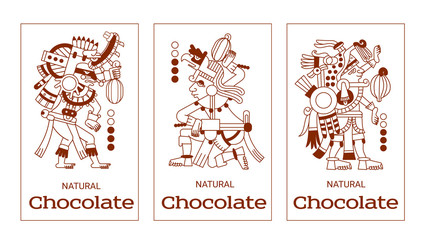 sketch drawing contour pattern maya, aztec and cacao nibs, choc