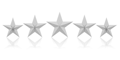 Five silver stars. 3d illustration