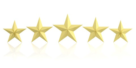 Five golden stars. 3d illustration