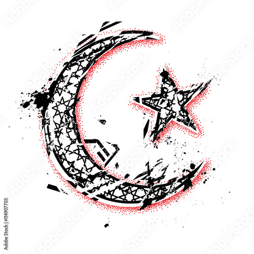 Vector Moon And Star Islamic Symbols Hand Drawn With Dotwork Ta