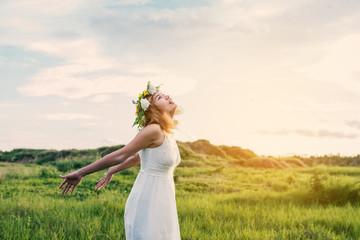 Young Happy Woman Enjoying Nature.