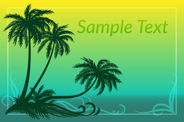 Exotic Landscape, Tropical Palms Trees Silhouettes, Grass and Floral Pattern on Sea Background. Eps10, Contains Transparencies. Vector
