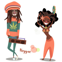 two cute reggae cartoon characters