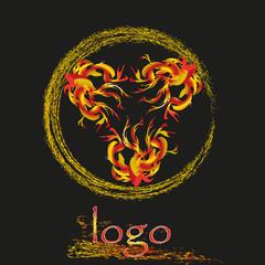 Flames and sparks logo vector illustration Vector illustration of flames and sparks logo on a black background for decoration and design