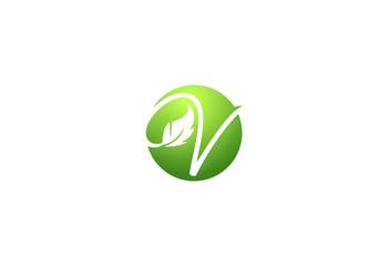 letter v vegetarian leaf logo