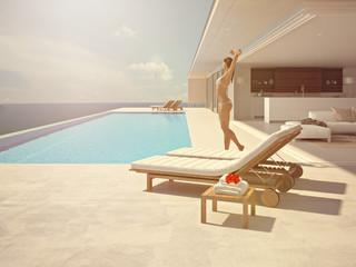 woman enjoying the sun at the endless pool. 3d rendering