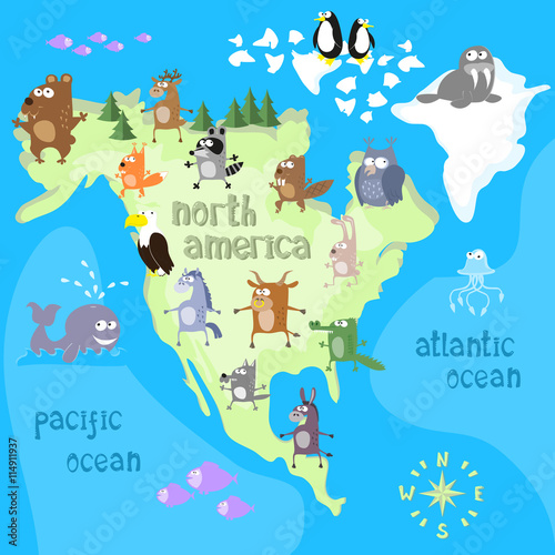 Concept design map of north american continent with animals drawing concept design map of north american continent with animals drawing in funny cartoon style for kids gumiabroncs Images
