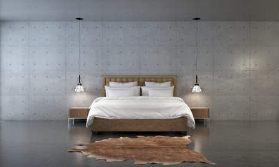 3d rendering of bedroom design with concrete wall