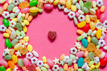 Heart laid out candy