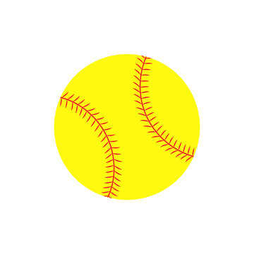 Flat icon softball ball. Vector illustration.