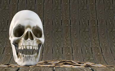 3D illustration of skull with gold bounty on wood background