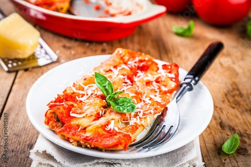 "Homemade cannelloni with spinach and tomato sauce"" Stock photo and ..."