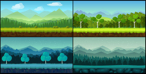 Vector landscape cartoon seamless backgrounds set for game