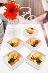 catering food in white plate  on table