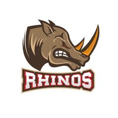 head of Angry rhino. Sport team or club emblem template.