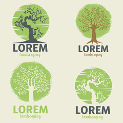 landscaping logo templates. Eco lifestyle sign template.