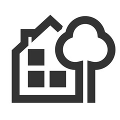 House with a tree icon. House with a tree logo. Flat icon ofHouse with a tree
