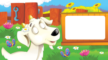 Cartoon scene with funny young goat thinking about something with eyes closed - illustration for children
