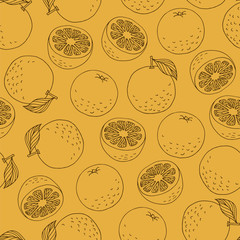 Seamless pattern with hand drawn line oranges