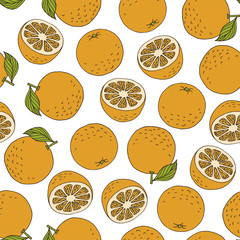 Colourful oranges on white background, vector pattern