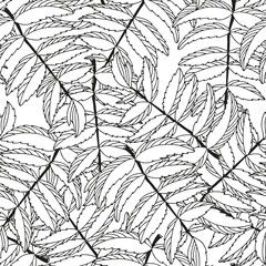 Seamless white and black floral leaf background