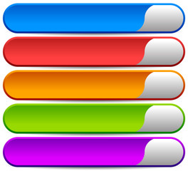 5 colorful button, banner backgrounds - Set of rectangular butto