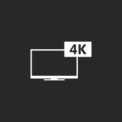 4K screen resolution smart TV simple icon on background