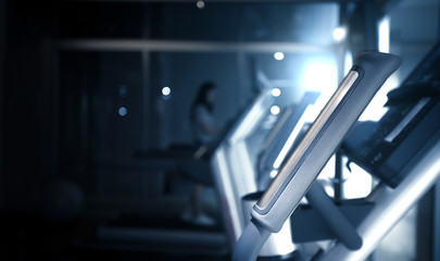 blurred  Image  fitness and gym room interior background