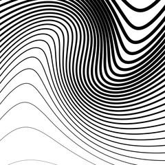 Simple pattern with irregular, wavy - billowy lines. Monochrome