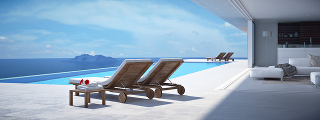 luxury swimming pool. 3d rendering