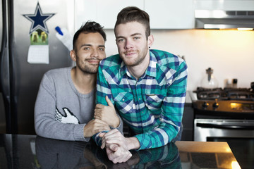 Portrait of a young gay couple