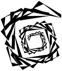 Geometric circular spiral. Abstract angular, edgy shape in rotat