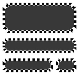 Set of blank banners, plaques with checkered borders for racing,