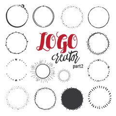 Unique hand drawn shapes for brand identity and logo design isolated on background and easy to use